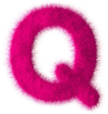 Pink shag Q letter isolated on white background