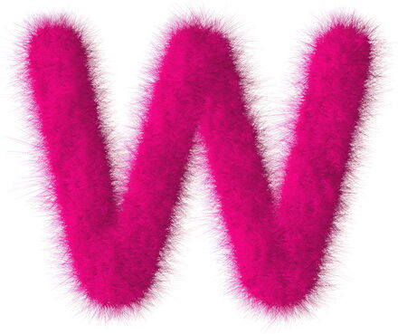 fluffy tuft: Pink shag W letter isolated on white background