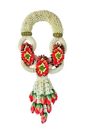 Thai jasmine garland on white background Stock Photo