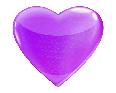 Heart purple glossy isolated on white background