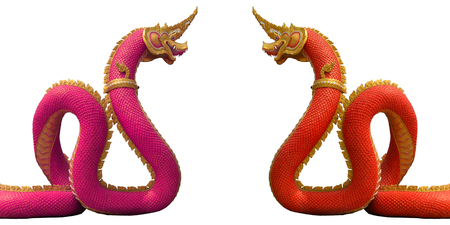 Naga or serpent in temple on white background