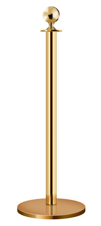 Barrier, golden pole  isolated on white background