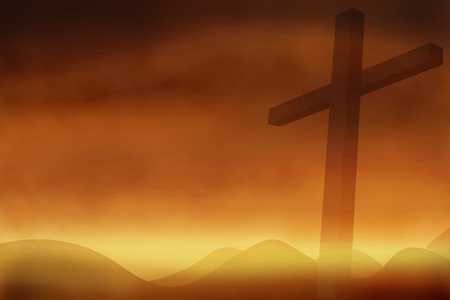 black jesus: Cross with the sunset  background