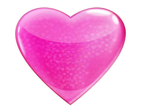 Heart pink glossy isolated on white background Stock Photo