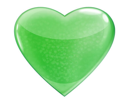 Heart green glossy isolated on white background