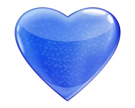 Heart blue glossy isolated on white background