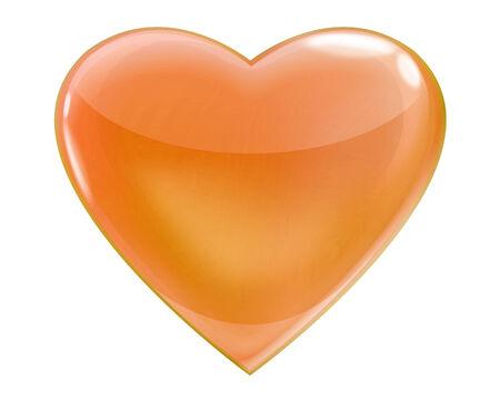 Glossy orange heart