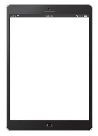 Tablet with blank screen isolated on white