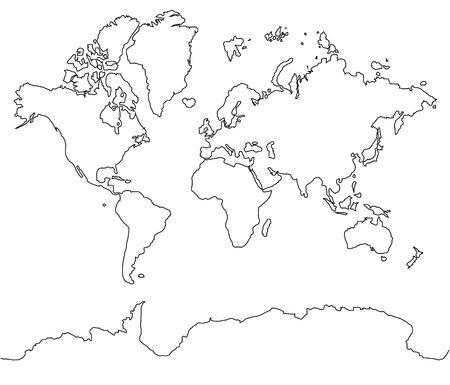 World map black line