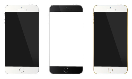 Smart phone with blank screen isolated white background