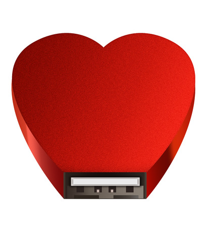 USB socket red heart isolated white background
