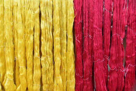 Yellow and red thai silk