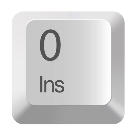 Pc number keypad 0 on white background Stock Photo