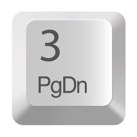 Pc number keypad 3 on white background