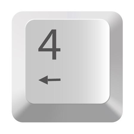 Pc number keypad 4 on white background
