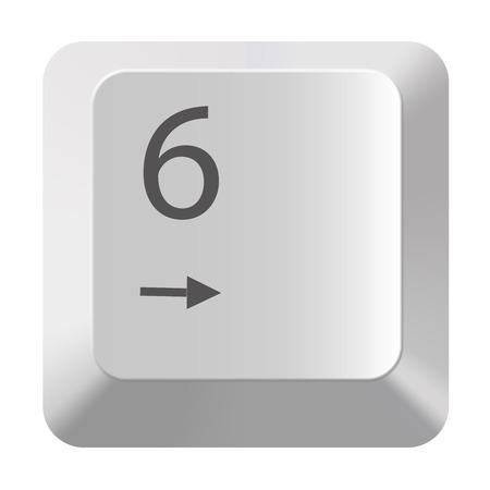 Pc number keypad 6 on white background