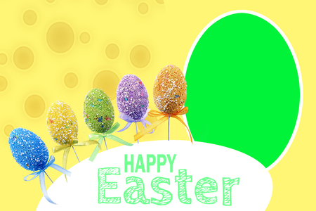 Speckled Easter background with colored eggs . White frame for your text Stock Photo