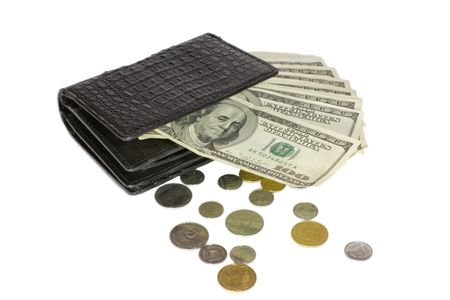 Black crocodile leather wallet with money Stock Photo