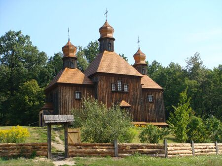 Wooden church in the trees