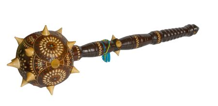 Wooden copy of Bulava - the ceremonial mace of Hetmans of Ukrainian Cossacks Stock Photo