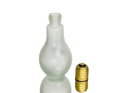 Bottle as lamp on white background Stock Photo