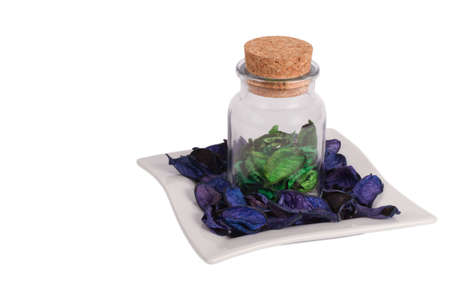 airiness: Can with flowers petal isolated on white