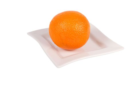 Fresh Orange on a white plate on white Background