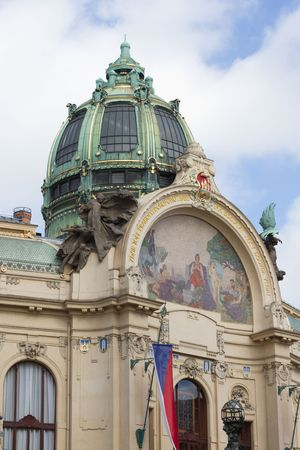 Top of the municipal house (build in 1911). Prague, Czech Republic.