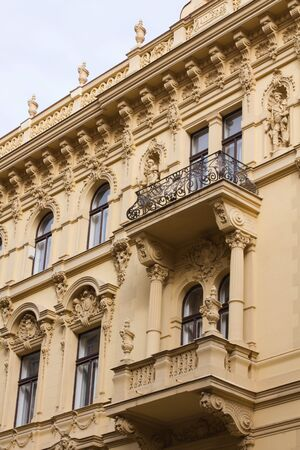 Fragment of Prague building with balcony Stock Photo