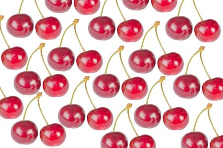 Cherry seamless on white background