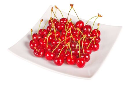 Fresh ripe cherry berry in the plate Stock Photo