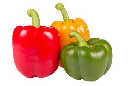 Three colorful pepper isolated in white