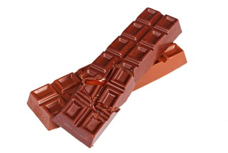 Chocolate bars isolated on a white Stock Photo