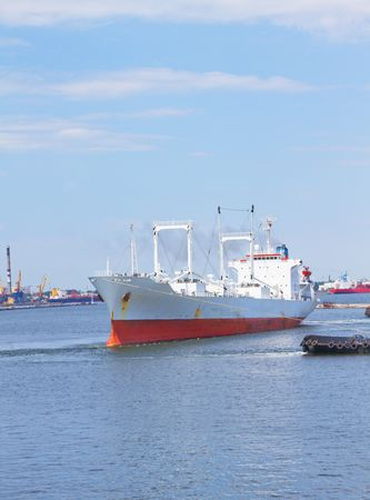 Freight ship leaving the harbor