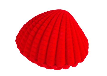 A red seashell box isolated on white background.