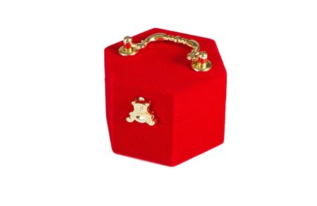Red present box on white Stock Photo - 7209740