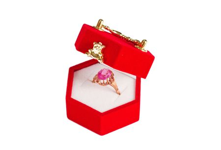 Red velvet box with golden ring Stock Photo - 7209743