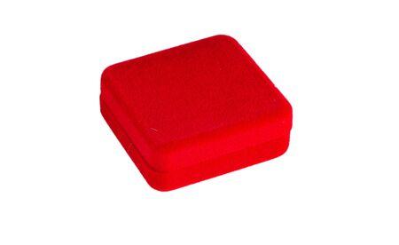 Red velvet box isolated in white Stock Photo