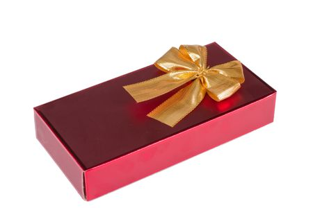 One red gift box with gold ribbon and bow isolated Stock Photo - 7209755