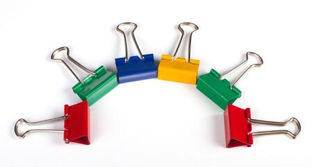 Multicolored paper clips on white background Stock Photo - 7235194