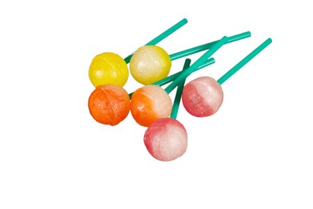 Colorful sweet lollipops on the white background