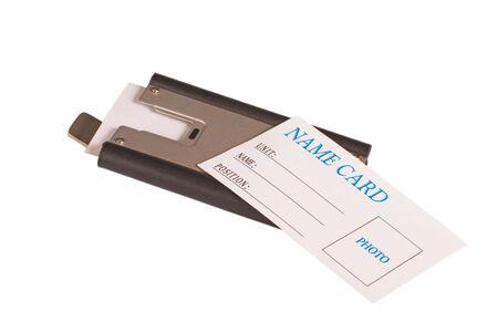 White name card on metallic business card holder