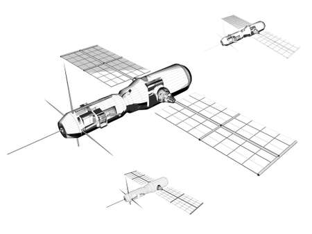 raytrace: Satellite - Industrial illustration
