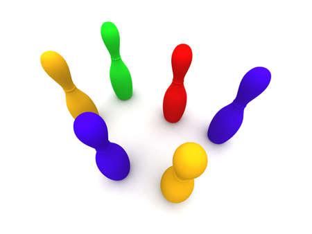 gaudy: Colored Bowling Pins 2