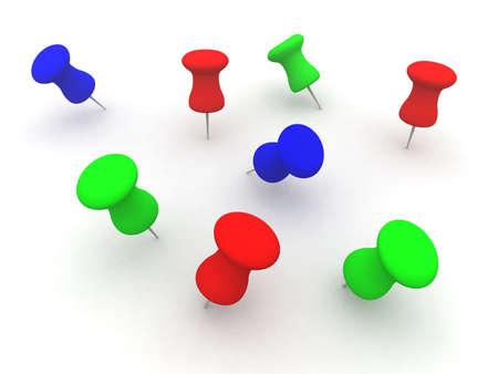 poke': Colored Pins Stock Photo