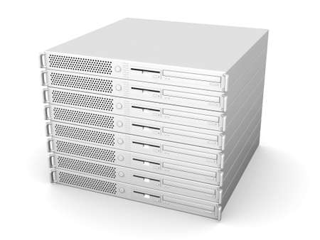 fileserver: Stack of 19inch Servers Stock Photo