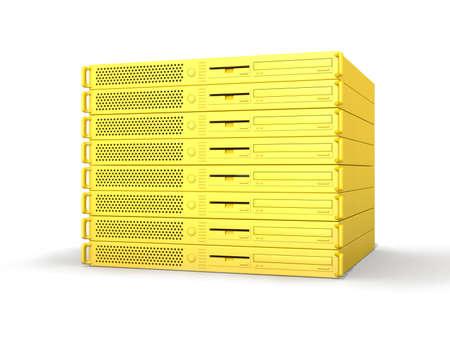 fileserver: Golden 19inch Servers Stock Photo