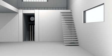 concrete stairs: Concrete House Interior