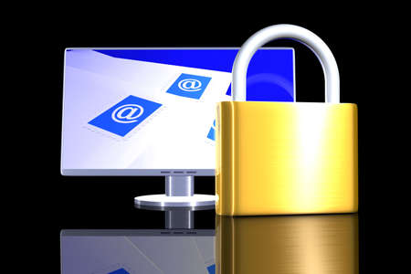 encrypted: Secure Email Communication Stock Photo