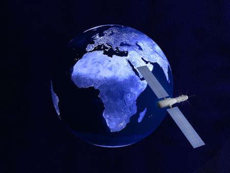 nightly: Satelllte over a nightly Globe  Stock Photo